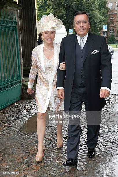 Ute Ohoven and Mario Ohoven attend the Church Wedding of Florian Langenscheidt and Miriam Langenscheidt at Friedenskirche on September 8 2012 in...