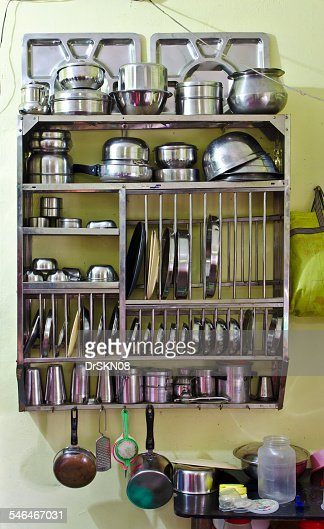 Utensil stand hanging on kitchen wall stock photo getty images