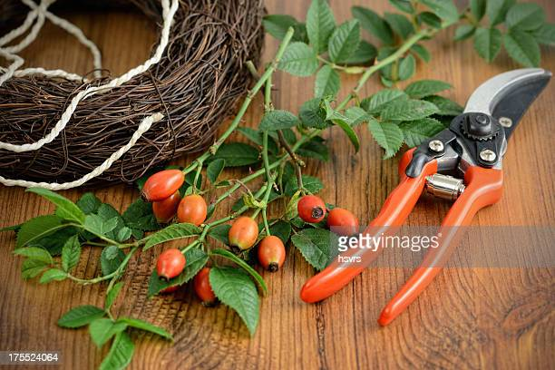 utensil to form a wreath of rose hip
