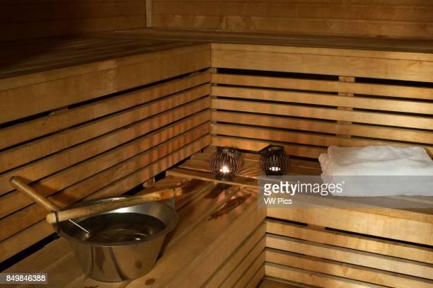 Utensils for a sauna Helsinki Inside a sauna in Best Western Premier Hotel Katajanokka Finland