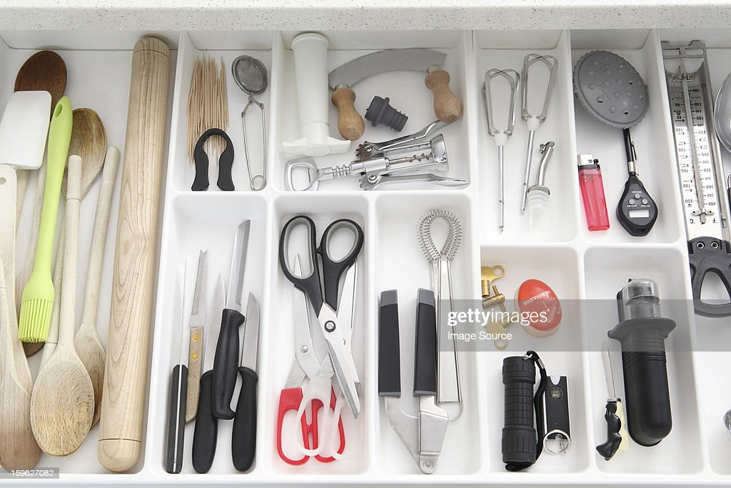 Utensils in kitchen drawer : Stock Photo