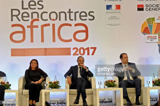 Utica President and former Nobel prize winner Wided Bouchamaoui French Prime Minister Edouard Philippe and Tunisian Prime Minister Youssef Chahed...