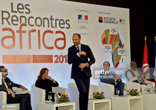 Utica President and former Nobel prize winner Wided Bouchamaoui French Prime Minister Edouard Philippe Tunisian Prime Minister Youssef Chahed and...