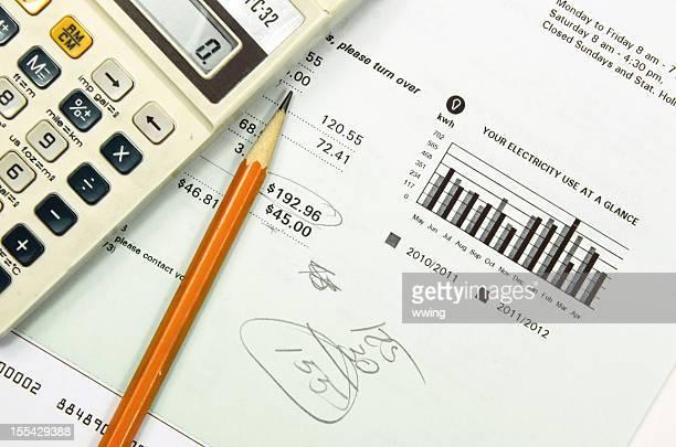 Utility Bill, Calculator, Pencil