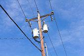 distribution transformer on a pole