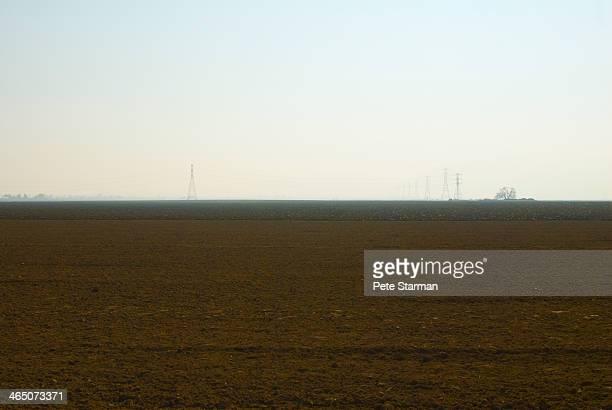 Utility poles on farm land