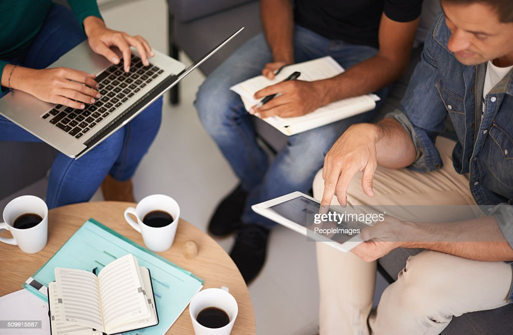 Utilizing tech to make their meetings more efficient : Stock Photo