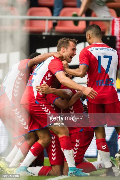 FC Utrecht celebrate the goal of Zakaria Labyad of FC Utrecht during the UEFA Europa League fourth round qualifying first leg match between FC...