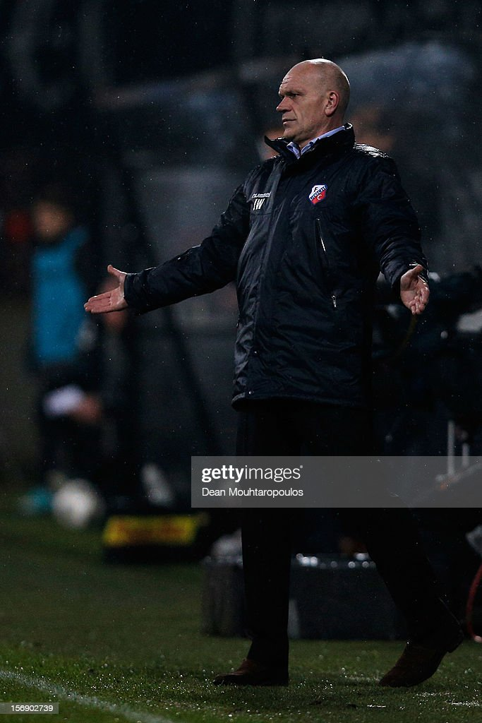 Utrecht Manager, Jan Wouters reacts on the sidelines during the Eredivisie match between NEC Nijmegen and FC Utrecht at the McDOS Goffertstadion on November 24, 2012 in Nijmegen, Netherlands.