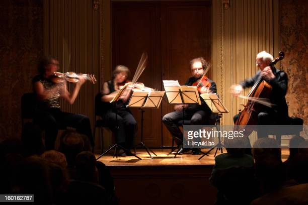 Utrecht String Quartet performing the music of Verhulst Mendelssohn and Sibelius at the Frick Collection on Sunday afternoon January 20 2013From left...