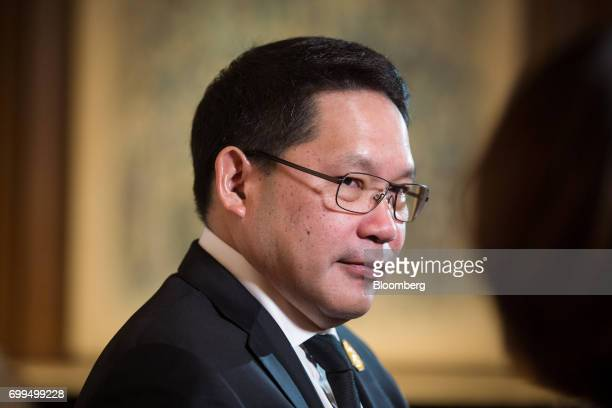 Uttama Savanayana Thailand's minister of industry listens during a Bloomberg Television interview on the sidelines of the Thailand's Big Strategic...
