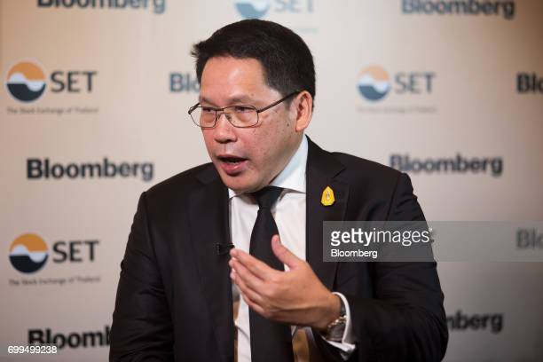 Uttama Savanayana Thailand's minister of industry speaks during a Bloomberg Television interview on the sidelines of the Thailand's Big Strategic...