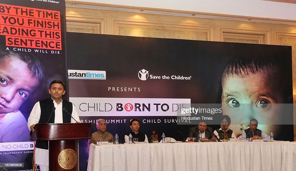 Uttar Pradesh chief minister Akhilesh Yadav addressing the seminar as (L-R ) National Commission for Minorities chairman Wajahat Habibullah, union minister of state for human resource development Jitin Prasada, HMVL business head (central and east UP) Rajat Kumar and Hindustan executive editor Naveen Joshi present on the dais at the 'No Child Born to Die' summit organized by Hindustan Times and Save the Children at Hotel Taj on March 2, 2013 in Lucknow, India.