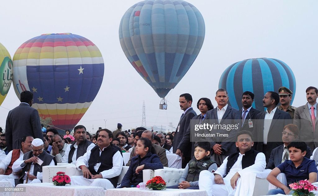 Uttar Pradesh Chief Minister Akhilesh Yadav during a Hot Air Balloon festival as a part of 'State Tourism Day' on Tourism day here at Janeshwar Mishra Park on February 14, 2016 in Lucknow, India. Uttar Pradesh Tourism Department has decided to celebrate its own 'State Tourism Day' annually on the Valentine's Day, February 14. The first 'State Tourism Day' will be celebrated in Lucknow but the venue will change to other cities in coming years, Navneet Sehgal, Principal Secretary Tourism added.