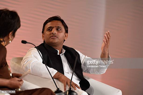 Uttar Pradesh Chief Minister Akhilesh Yadav in conversation with Barkha Dutt Consulting Editor NDTV during the Hindustan Times Leadership Summit 2016...