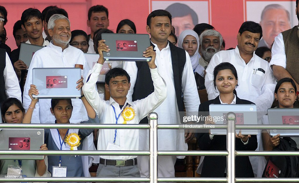 Uttar Pradesh Chief Minister Akhilesh Yadav launched the free Laptop Distribution Scheme on March 11, 2013 in Lucknow, India. Free laptop scheme for intermediate pass students as promised in the manifesto during Assembly elections last year.