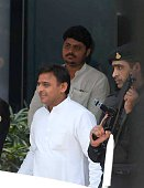 Uttar Pradesh Chief minister Akhilesh Yadav leaves after participating in the 4th meeting of CM`s sub group of Niti Aayog at Niti Aayog on June 27...
