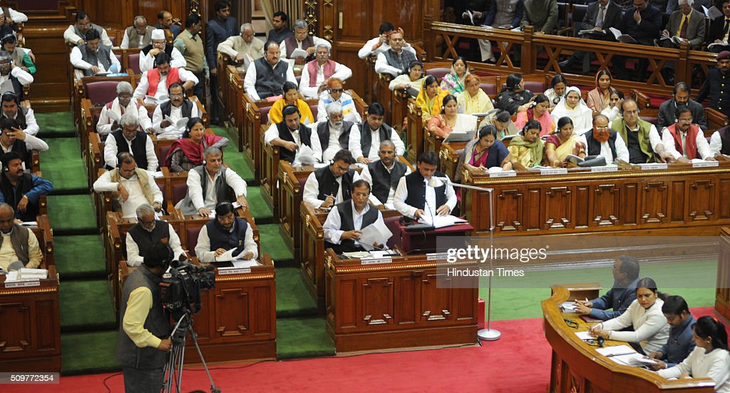 Uttar Pradesh Chief Minister Akhilesh Yadav presenting his government's fifth budget in the UP Assembly on February 12, 2016 in Lucknow, India. With an eye on 2017 Assembly elections, Uttar Pradesh Chief Minister Akhilesh Yadav today presented a Rs. 3,46,935-crore budget for 2016-17, reeling off a string of populist measures.