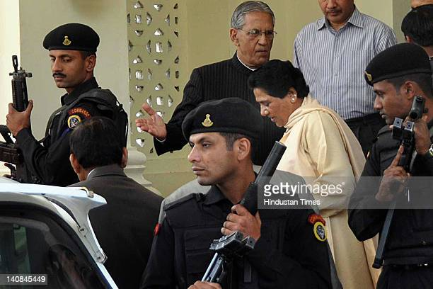Uttar Pradesh Chief Minister Mayawati leaves after submitting her resignation to Governor Banwari Lal Joshi at his residence on March 7 2012 in...
