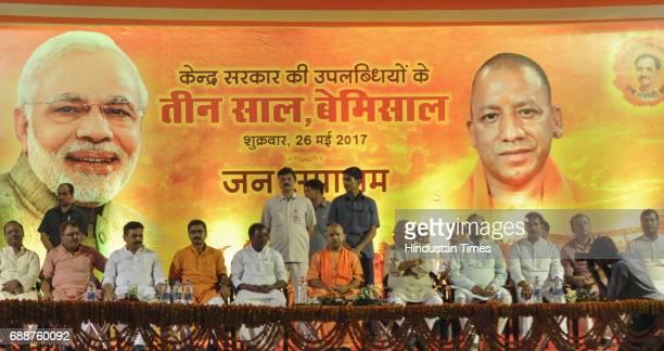 Uttar Pradesh Chief Minister Yogi Adityanath addresses a gathering at the memorial school Nadesar on May 26 2017 in Varanasi India