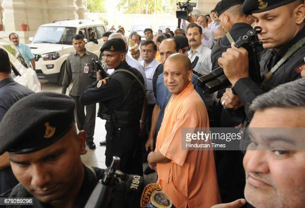 Uttar Pradesh Chief Minister Yogi Adityanath after a joint press conference at Lok Bhawan on May 5 2017 in Lucknow India Union Urban Development...