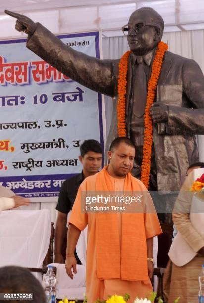 Uttar Pradesh Chief Minister Yogi Adityanath after paying tribute to Dr Baba Saheb Ambedkar on his 126 the Birth Anniversary at Ambedkar Mahasabha on...