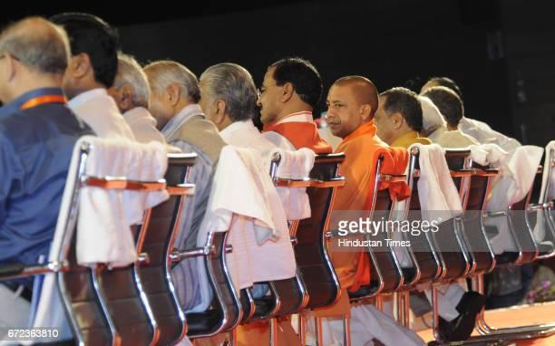 Uttar Pradesh Chief Minister Yogi Adityanath and Central Minister Narendra Singh Tomar with Deputy CMs Dinesh Sharma and Keshav Prasad Maurya at...