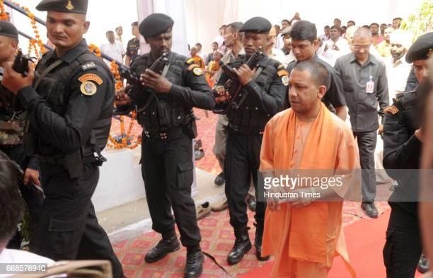 Uttar Pradesh Chief Minister Yogi Adityanath arrive to pay tribute to Dr Baba Saheb Ambedkar on his 126 the Birth Anniversary at Ambedkar Mahasabha...