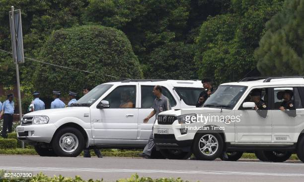 Uttar Pradesh Chief Minister Yogi Adityanath arrives at Parliament House for attending the swearingin ceremony of Ram Nath Kovind on July 25 2017 in...
