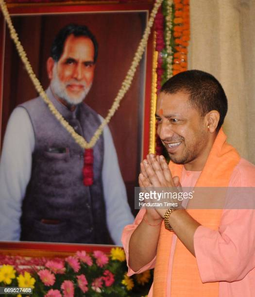Uttar Pradesh Chief Minister Yogi Adityanath attending a book release function on the occasion of former Prime Minister Chandra Shekhar's 91st birth...