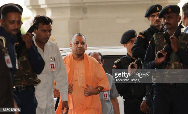 Uttar Pradesh Chief Minister Yogi Adityanath going for Cabinet Meeting at Lok Bhawan on April 25 2017 in Lucknow India