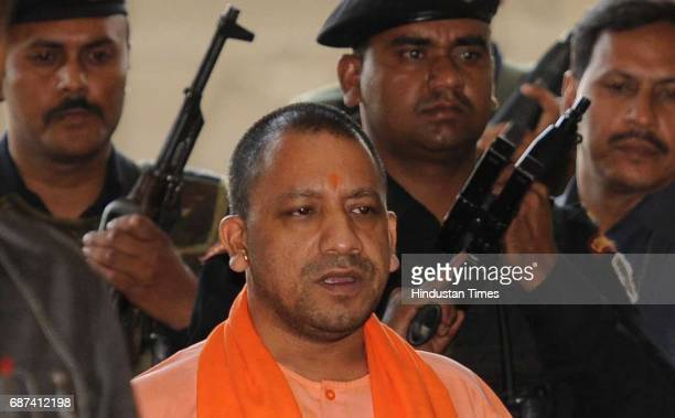 Uttar Pradesh Chief Minister Yogi Adityanath going to attend the Cabinet meeting at Lok Bhavan on May 23 2017 in Lucknow India