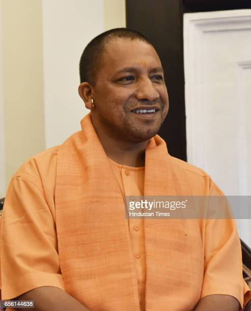Uttar Pradesh Chief Minister Yogi Adityanath on March 21 2017 in New Delhi India Adityanath who arrived in Delhi earlier in the day met President...