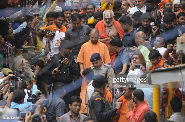 Uttar Pradesh Chief Minister Yogi Adityanath on May 31 2017 in Ayodhya India On his first visit to Ayodhya UP Chief Minister visited the makeshift...