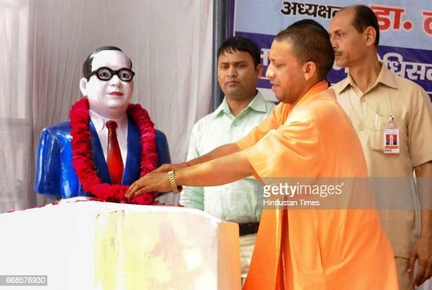 Uttar Pradesh Chief Minister Yogi Adityanath paying tribute to the Dr Baba Saheb Ambedkar on his 126 the birth anniversary at Ambedkar Mahasabha on...