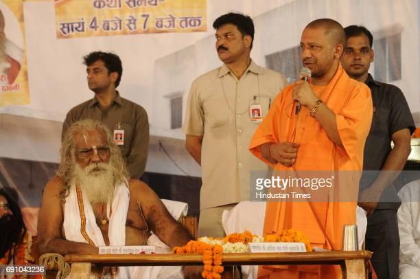 Uttar Pradesh Chief Minister Yogi Adityanath speaks during the 79th birthday function Mahant Nritya Gopal Das on May 31 2017 in Ayodhya India On his...