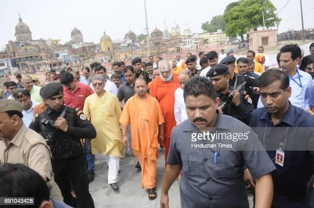 Uttar Pradesh Chief Minister Yogi Adityanath visits Ram Ki Paidi on May 31 2017 in Ayodhya India On his first visit to Ayodhya UP Chief Minister...