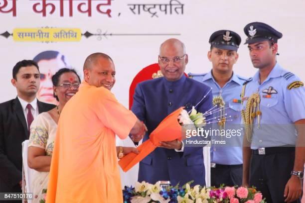 Uttar Pradesh Chief Minister Yogi Adityanath welcomes President Ram Nath Kovind during the launch of Swachhta Hi Seva campaign at Iswari Ganj Village...
