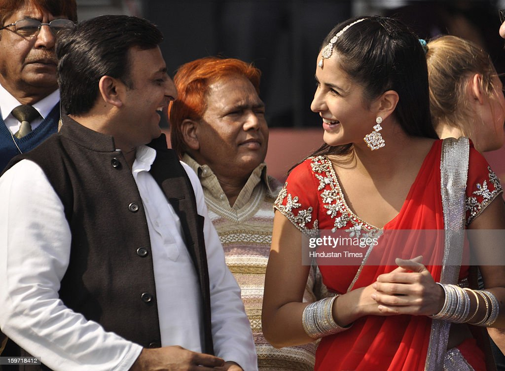 Uttar Pradesh CM Akhilesh Yadav and Bollywood actress Katrina Kaif during the opening ceremony of Hockey India League match at the Major Dhyan Chand Stadium, on January 19, 2013 in Lucknow, India.