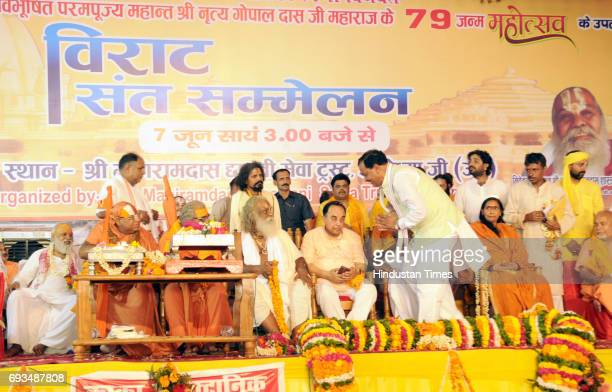 Uttar Pradesh Deputy Chief Minister Keshav Prasad Maurya and Sadhvi Niranjan and Pravin Togharia along with BJP leader Subramanian Swamy at the...