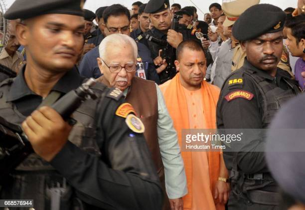 Uttar Pradesh Governor Ram Naik along with Uttar Pradesh Chief Minister Yogi Adityanath paying tribute to Dr Baba Saheb Ambedkar on his 126 the Birth...