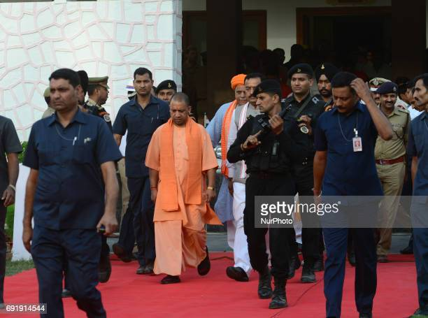 Uttar Pradesh state chief minister Yogi Adityanath arrives at circuit house during his 2 days visit in Allahabad on June 32017