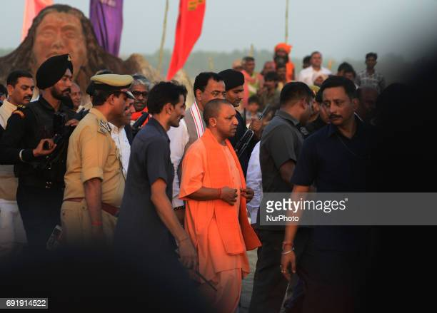 Uttar Pradesh state chief minister Yogi Adityanath inspects Cleanliness at holy sangam confluence of Ganges Yamuna and mythical Saraswati river...