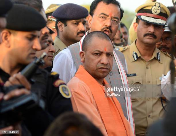 Uttar Pradesh state chief minister Yogi Adityanath inspects at holy sangam confluence of Ganges Yamuna and mythical Saraswati river during his 2 days...