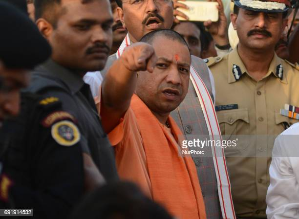 Uttar Pradesh state chief minister Yogi Adityanath inspects holy sangam area confluence of Ganges Yamuna and mythical Saraswati river during his 2...