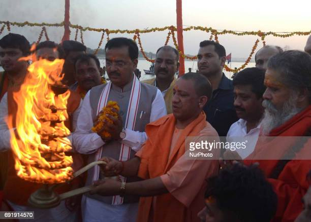 Uttar Pradesh state Chief minister Yogi Adityanath performs Ganga Aarti at sangam confluence of three rivers Ganges Yamuna and mythical saraswati...