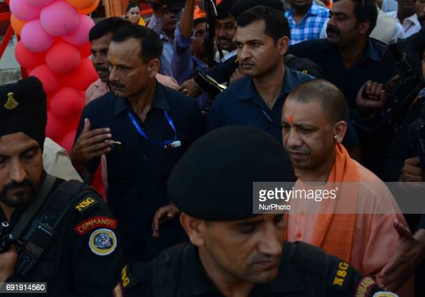 Uttar Pradesh state chief minister Yogi Adityanath returns from Hanuman temple at holy sangam confluence of Ganges Yamuna and mythical Saraswati...