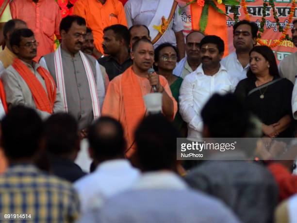 Uttar Pradesh state chief minister Yogi Adityanath speaks after attending Ganges Aarti at holy sangam confluence of Ganges Yamuna and mythical...
