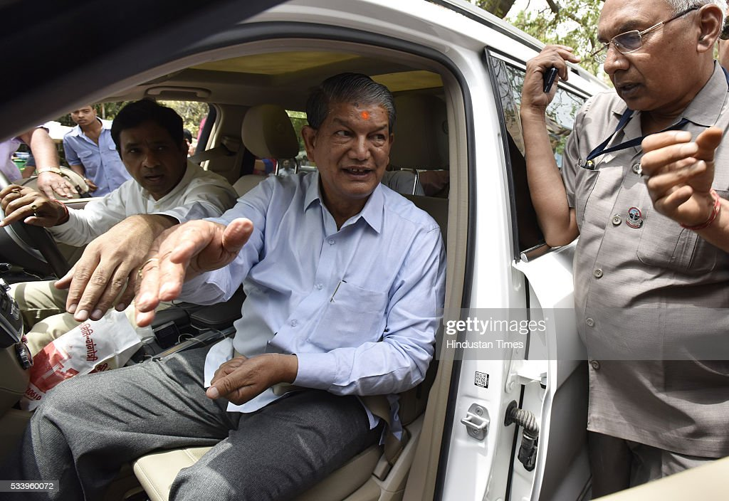 Uttarakhand Chief Minister Harish Rawat arrives to appear before the CBI in the sting CD case involving him at CBI Headquarters on May 24, 2016 in New Delhi, India. CBI had registered a Preliminary Enquiry (PE) on April 29 to probe the sting operation in which Rawat was purportedly shown negotiating a deal to buy the support of rebel Congress MLAs ahead of the floor test.