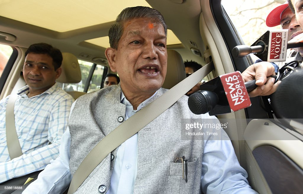 Uttarakhand Chief Minister Harish Rawat talking to media person before arriving at The Central Bureau of Investigation HQ on June 7 2016 in New Delhi...